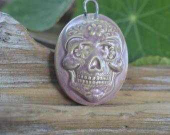 Handmade Porcealin Sugar Skull Cameo