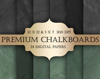 Premium Chalkboard Digital Paper Pack -  chalkboard blackboard pattern backgrounds for scrapbooking, wedding invitations, bridal/baby shower