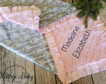 Baby Girl blanket, Personalized minky baby blanket, Pink and Gray Baby Blanket, Arrow Baby Blanket