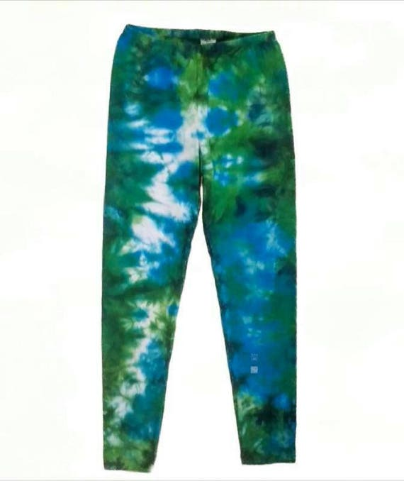 Tie Dye Leggings/Hand Dyed/Womens Tie Dye/Turquoise, Chartreuse & Bright Green/Eco-Friendly Dying