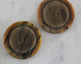 vintage brown bakelite buttons 1 7/16 inch diameter 2 holes 1/8 inch thick 1940's sewing supply excellent condition