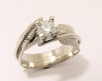 One of a Kind Hand Made, Hand Chased 18k white gold Feather Canadian Diamond Engagement Ring