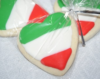 Custom Decorated Sugar Cookies - Italian Flag Cookies , One Dozen, Homemade, Made to Order, Ships Fast,  Patriotic Cookies, Cookie Favors