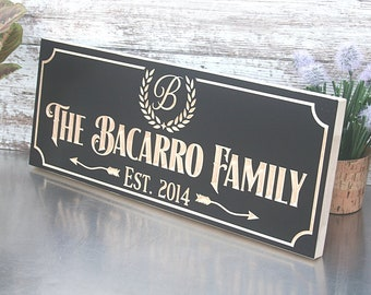 Custom Engraved Family Name Wood Sign, Personalized Wooden Plaque, Rustic Wedding Sign, Engraved Name Sign, Benchmark Signs, Maple BA