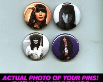 "Cher - 1.5"" Pins / Buttons (vintage poster print lp art pop rock)"