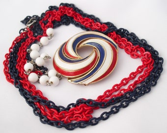 Vintage Red White and Blue Necklace and Trifari Brooch Patriotic Retro USA Jewelry