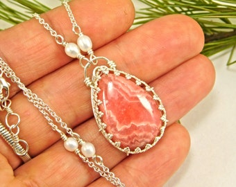 Rhodochrosite and Freshwater Pearl Necklace - Rhodocrosite Jewelry - Metaphysical Jewelry - Rhodochrosite Jewelry - Herkimer Jewelry