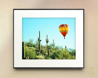 Hot Air Balloon Art Print // Saguaro Cactus Arizona Desert Landscape Photography // 8x10 8x12 11x14