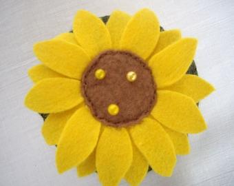 Yellow sunflower pincushion