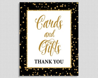 Cards and Gifts Sign, Black & Gold Glitter Shower Table Sign, Wedding, Baby Shower Sign,  INSTANT PRINTABLE