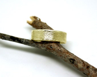 14k gold fingerprint ring, unique wedding band, unique commitment ring, OOAK finger print band