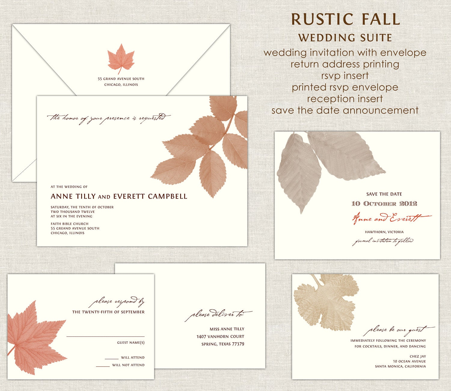Rustic Fall Wedding Invitations Autumn Wedding Invitation