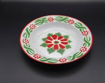 Christmas Plate, Vintage Enamel Plate, Belgian Enamelware, Vintage Enamelware, Vintage Christmas