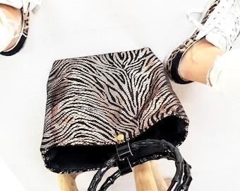 Bali gold striped leather purse