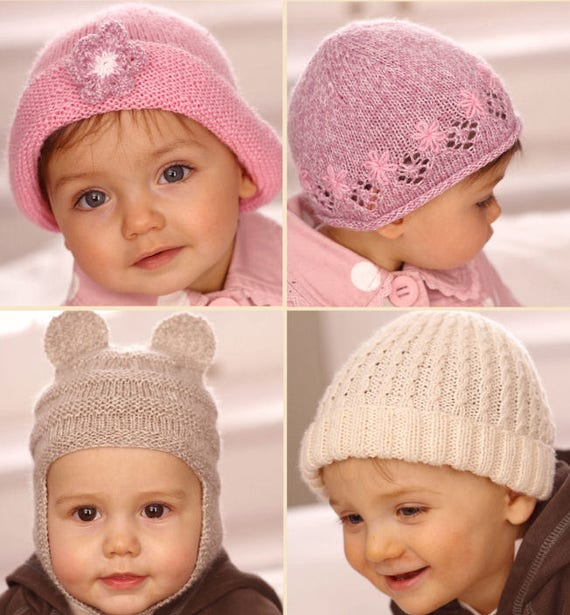Sirdar Knitting Pattern Child Hats in Snuggly 4 ply , beanie hat ...
