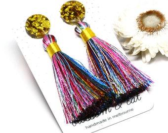 Festival Tassel Earring · Short Tassel Earring · Pinky Blue Tassel Earring · Tassel Earring · Blue + Gold Tassel Earring