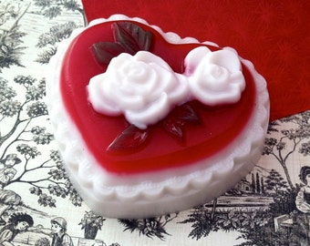 Hopeless Romantic Heart and Roses Soap