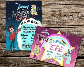 DIGITAL star vs the forces of evil Birthday party Invitation digital download