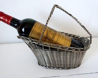 Vintage French Silver-Plated, Wine Bottle Basket / Pourer / Cradle Home Decor