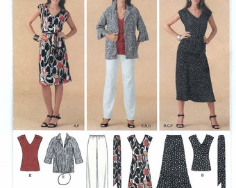 "A Separates Pattern for Women: Top, Dress, Skirt, Pants, Jacket & Belt - Uncut - Sizes 20W-22W-24W-26W-28W, Bust 42"" - 50"" ~ Simplicity 3506"