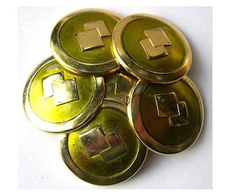 6 Vintage metal buttons gold color with unique green-pick up size