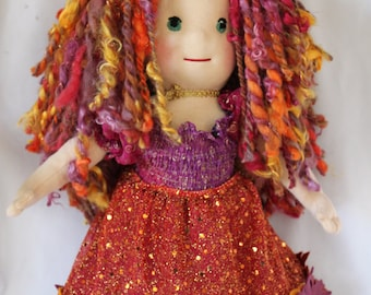 "16"" Tessa - Autumn / Harvest Waldorf Style Doll with fingers and toes"