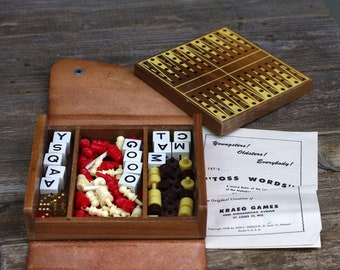 Vintage Toss Words Game Leather Case