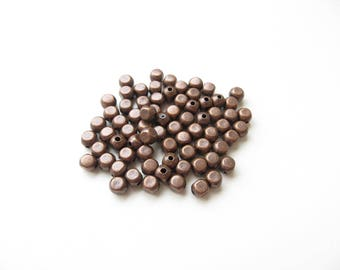 50 3mm copper cube metal beads