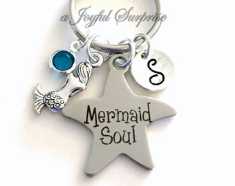 Mermaid Soul Keychain, Mermaid Keyring, Mermaid Gift Mermaid Key Chain Gift for Marine Biologist Gift Custom Birthstone Initial Personalized