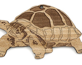 Galapagos Tortoise Ornament - Timber Green Woods. Sustainable Harvest. Made in the USA! Turtle.