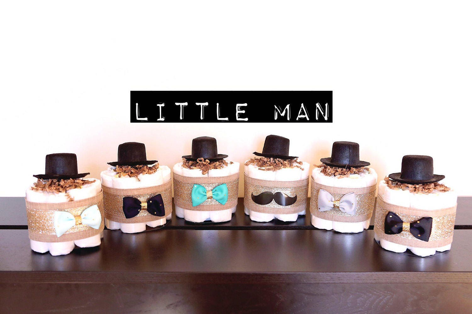 Little Man MINI Diaper Cake With Hat / Baby Shower Centerpieces Decorations  / Boys Nursery Unique Gifts / Gold Black Blue Grey Teal Mustache