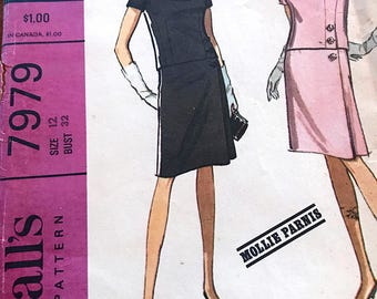 Rare Designer Mollie Parnis Vintage Two-Piece Dress and Scarf Pattern---McCalls 7979---Size 12  Bust 32  UNCUT