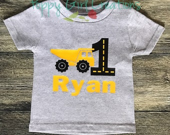 Construction Birthday Shirt Dump Truck Personalized First Birthday