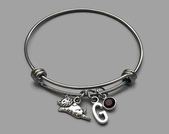 Cat Charm Bracelet, Cat Bracelet, Cat Jewelry, Kitty Charm, Cat Lover, Initial Bracelet, Birthstone Bracelet, Stainless Steel Bangle