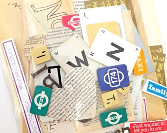 Words Scrap Pack, Planner kit, Letters Collage papers, Over 65 pieces, Eco-friendly Paper Ephemera pack, supplies, Scrap-booking