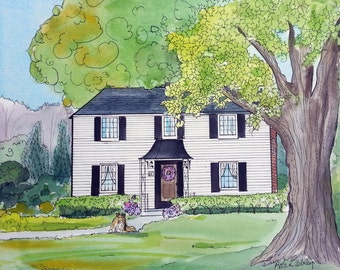 Watercolor and Ink House Portrait Painting, 11 x 14 and up, gift for any occasion, by me, artist Robin Zebley