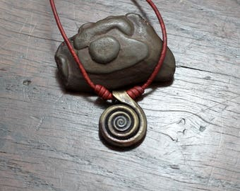 Forged Pure Iron Spiral Pendant