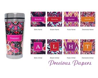Personalized coffee Mug - Chevron mug, chevron stainless mug, floral Stainles steel Travel Mug, teacher gifts