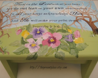 A hand painted step stool with bible verse and pansies,personalized wooden bench,personalized stool,hand painted stool,stepstool,footstool