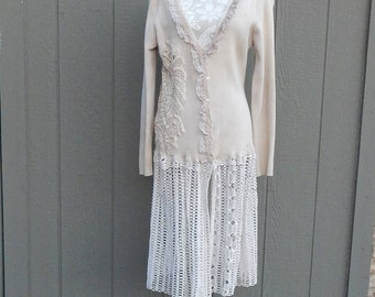 Tan Cotton Ruffled/ Crochet Trim Altered Sweater, BoHo Style, Shabby Chic Romantic,Extra Large,Cottage Chic, Mori Girl Style,Crocheted Skirt