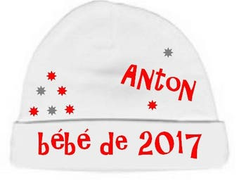 Baby Hat white baby 2017 personalized with name