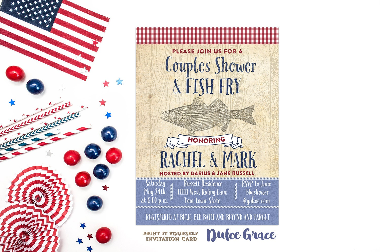 Fish fry invite couples shower invite rustic invite