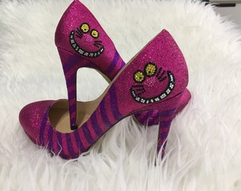 Glitter Cheshire Cat Heels Alice in Wonderland