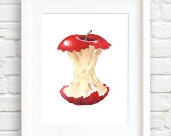 Apple Core - Art Print - Kitchen Art - Wall Decor - Watercolor Painting