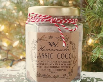 "Homemade Classic Cocoa in a Jar, Hot Cocoa Labels, 3"" x 2"", Holiday gifts, Winter Wedding Favors, Homemade Food Labels, Teacher Gifts"