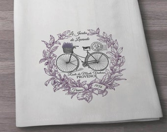 Lavender French inspired Bike towel, Flour sack Towel, Tea Towel, Kitchen Towel, Cotton Towel, Vintage towel, Paris Towel, Bike Towel