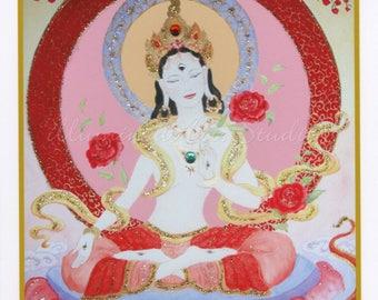 White Tara, Hand-Embellished Card