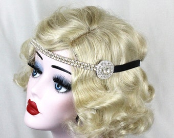 Pearl and Silver Headband, Hair Accessory, Great Gatsby, Flapper Costume, Headpiece, Champagne, Halloween Costume, Bridal, Pick Your Colors