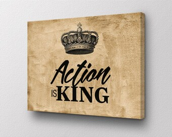 Canvas Wall Art - Action is King - Motivational quote original design by ShopUnframed - Ready to Hang right out of box High Quality Canvas