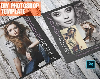 DIY Sleek Model Comp Card - Zed Card - For Models and Actors - Photoshop Template